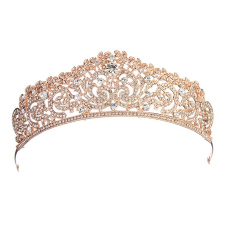 LuckyFine Rose Gold Crystal Bridal Princess Queen Crown And Tiara Hairband for Wedding Party Pageant ()