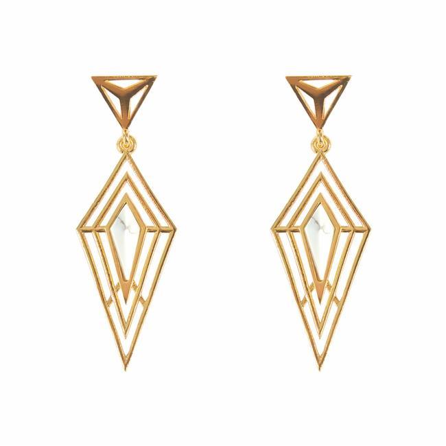 Fronay VOL180 18k Gold Plated Brass Howlite Statement Earrings - image 1 de 1