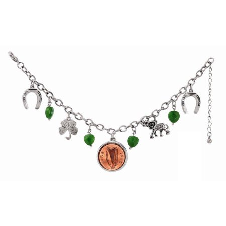 Irish Penny Lucky Charm Silver Tone Coin Bracelet ()