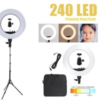 "Kshioe 18"" LED Ring Lights and 2m Light Stands US Standard Silver"