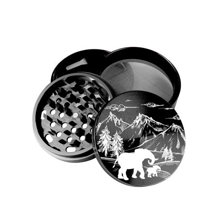- Large 100 mm 4 inch Largest Herb Grinder Spice Mill Black Anodized Aircraft Grade Premium Aluminium Laser Engraved Amazon Elephant