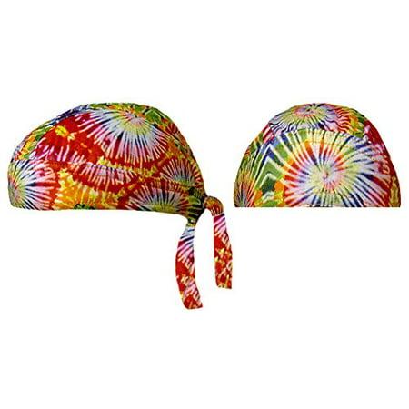 Tie Dye Doo Rag Headwrap 1960s Hippie Bandana Skull Cap Durag Womens - Hippie Shoes 1960s