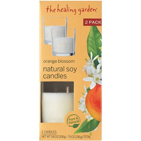 The Healing Garden Orange Blossom Natural Soy Candles, 3.8 oz, 2 ct