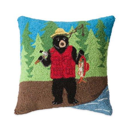 (Hand-Hooked Wool Fishing Bear Throw Pillow, 16