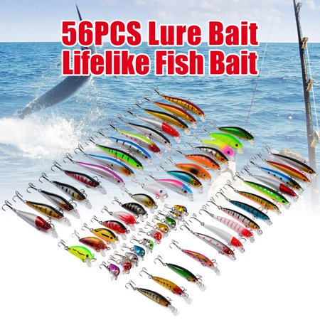 56Pcs Mixed Minnow Fishing Lures Bass Bait Crankbait Treble Hook with Box for Freshwater Trout Bass Salmon