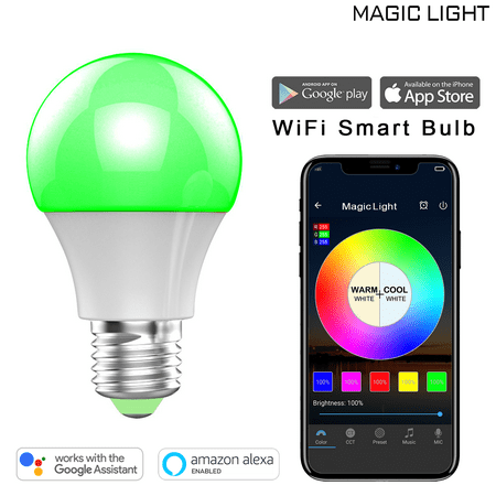 MagicLight WiFi Smart Light Bulb, Dimmable, Multicolor, Wake-up Lights, No Hub Required, Magic Light Compatible with Alexa and Google Assistant for $<!---->