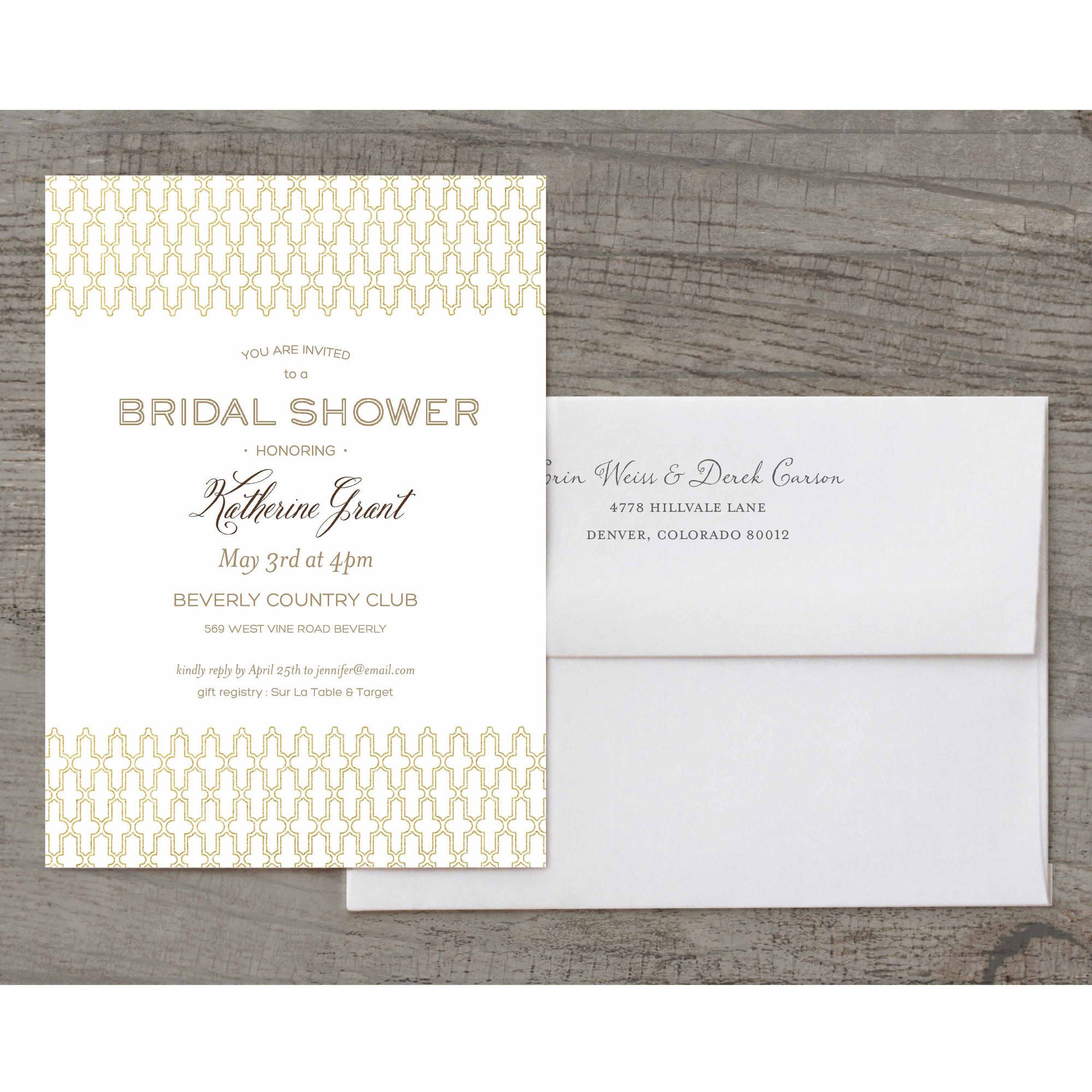 Loving Lattice Deluxe Bridal Shower Invitation