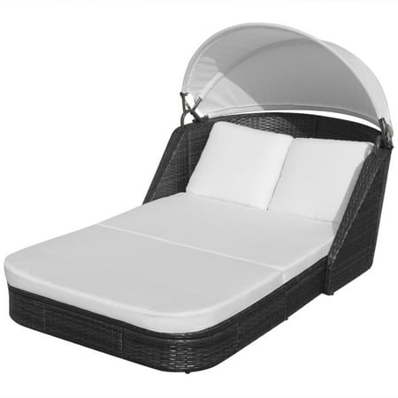 HERCHR Sun Lounger with Canopy Poly Rattan Black ()