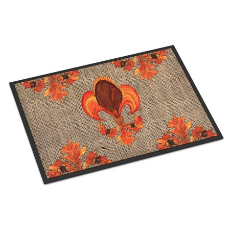 Thanksgiving Turkey Fleur de lis Door Mat - Classroom Door Ideas For Thanksgiving