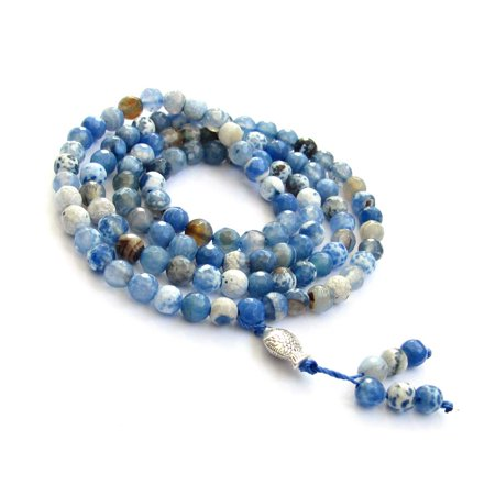 Tibetan Buddhist 108 6mm Faceted Agate Prayer Beads Mala Necklace