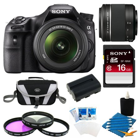 Sony Alpha SLT-A58K Digital SLR Camera 16 GB 55-200mm Lens Bundle