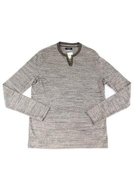b79088c8d28d9 Product Image Alfani NEW Brown Mens Size 3XL Henley Space-Dye Knit Tee  T-Shirt