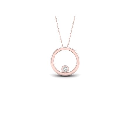10k Gold Solitaire (1/20Ct TDW Diamond 10K Rose Gold Solitaire Necklace (I-J, I2))