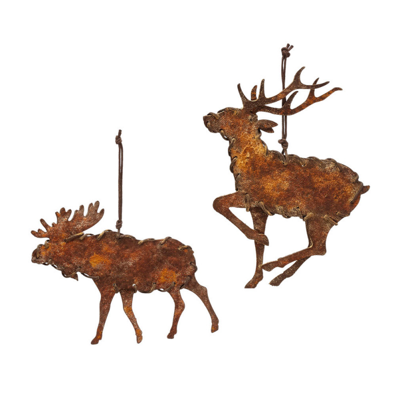 Rusty Metal Moose Ornament, 2 ASST