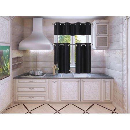 K7 Black 3-Piece Solid Faux Silk Blackout Grommet Kitchen Window Curtain Set, Two (2) Lined Tiers Panel 28