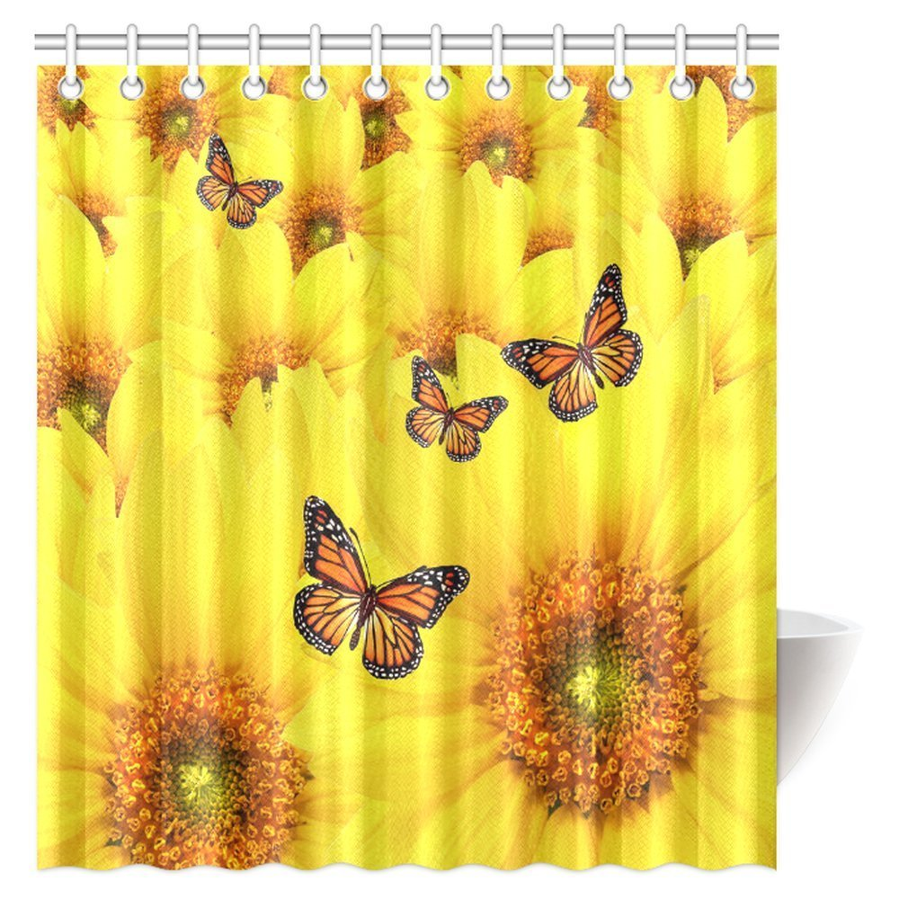 MYPOP Sunflower Shower Curtain, Sunflower Flowers Atop One Another  Butterfly Warm Colors Round Close Up