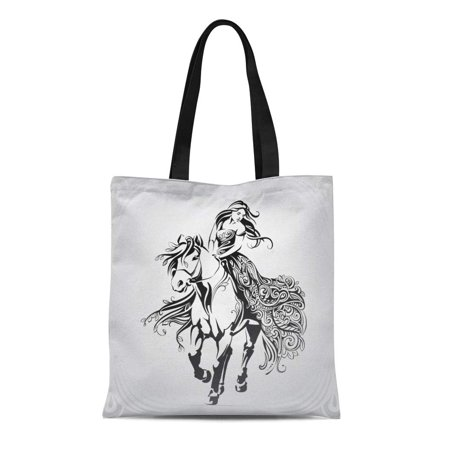 LADDKE Canvas Tote Bag Horse Walk on Horseback Tattoo Horsewoman Girl Outline Tribal Reusable Shoulder Grocery Shopping Bags (Best Tribal Shoulder Tattoos)