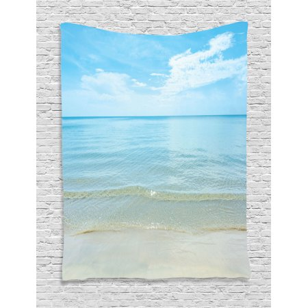 Ocean Decor Wall Hanging Tapestry  Bright Sunny Summer Day At The Sandy Beach Tranquil Calm Shore Sea Horizon Image Artprint  Bedroom Living Room Dorm Accessories  By Ambesonne