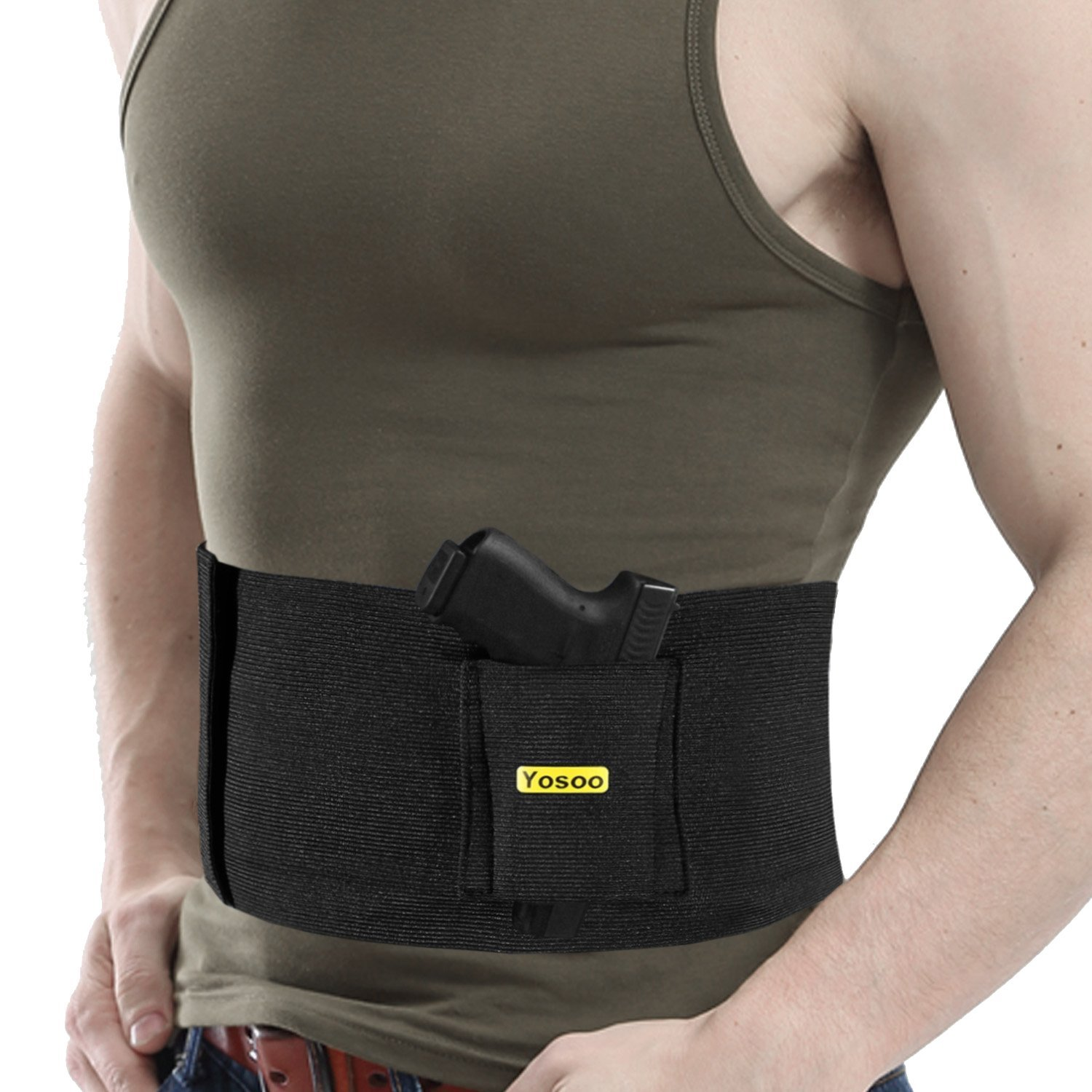 Yosoo Belly Band Holster for Concealed Carry Adjustable Hand Gun IWB Holsters with Magazine Pouch for Men Women, Fits... by Yosoo