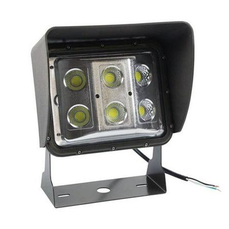 120 - 277V AC & 60 watt Low Profile LED Wall Pack Light with Glare Shield, Wide Flood Beam, U Bracket Mount - 5600K