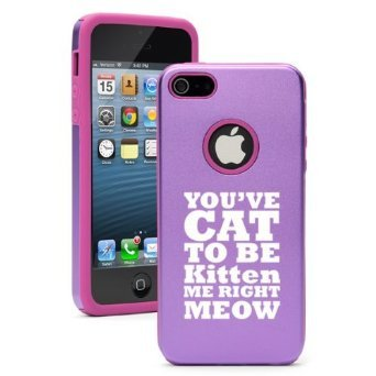Apple iPhone 6 6s Shockproof AS Aluminum & Silicone Hard Soft Case Cover You've Cat to Be Kitten Me Right Meow (Purple),Daylor