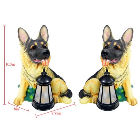 - iGlow 2 Pack Solar German Shepherd Dog Bright White LED Outdoor Garden Decoration Lantern Light Path Post Landscape Lamp