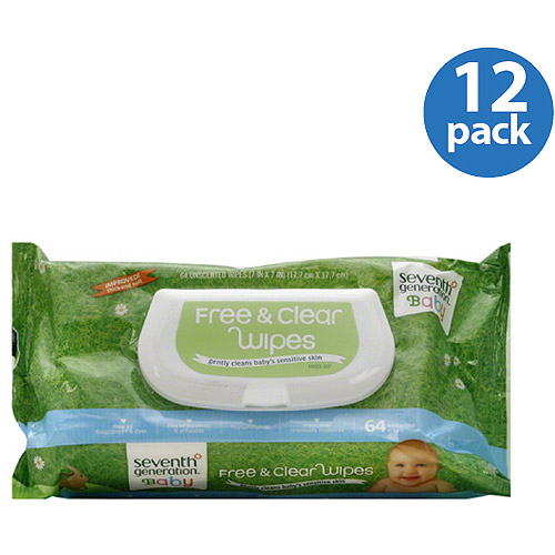 Seventh Generation- Free & Clear Baby Wipes, 64 count (Pack of 12)