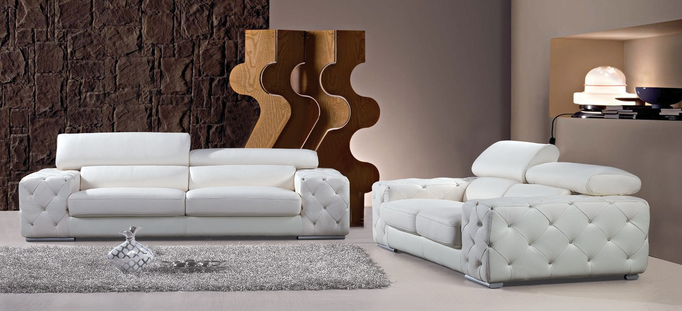 Divani Casa Corinne Modern Tufted Leather Sofa Set With Headrests And  Crystals Color:White,Finish:White   Walmart.com