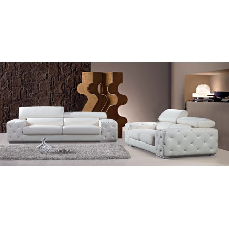 Divani Casa Corinne Modern Tufted Leather Sofa Set With Headrests And Crystals Color White