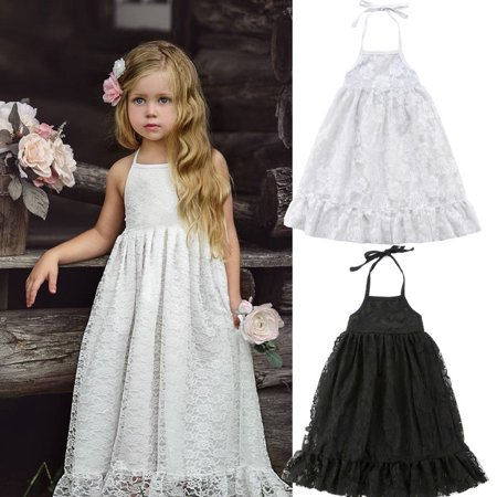 f6d9f761c Emmababy - Kids Baby Girls Dress Lace Floral Party Dress Strap Backless  Solid Dress Clothes - Walmart.com