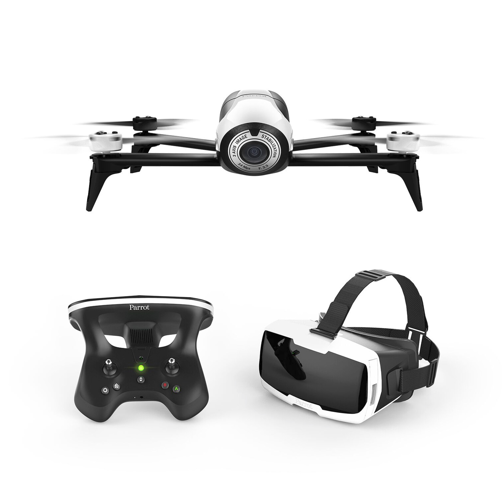Parrot Bebop 2 FPV Drone Kit with Parrot CockpitGlasses and Parrot SkyController 2 (White) (Refurbished)