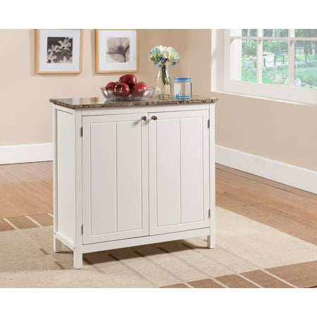 Blake White & Marble Wood Contemporary Kitchen Island Serving Display Cabinet With Storage Doors & Shelves