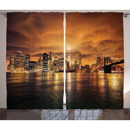 Apartment Decor Curtains 2 Panels Set, Manhattan at Sunset New York City View From Brooklyn Lights Reflections Seaport Print, Window Drapes for Living Room Bedroom, 108W X 84L Inches, , by (Brooklyn Light Set)