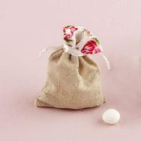 Cotton Linen Drawstring Favor Bag With Floral Trim