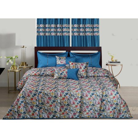 WPM Designer Collection Bedding Set 7 Piece Royal Blue Jungle Forest Bird print Luxurious Bed In a Bag KING size comforter includes 1 Comforter, 2 Shams, 1 Bedskirt, 3 Décorative Pillows…