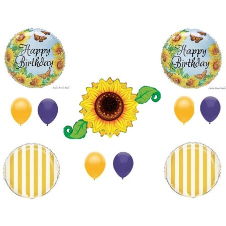 PURPLE SUNFLOWER Summer Birthday Party Balloons Decoration Supplies Garden Mom