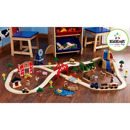 farm train set 75 pieces children kids wooden pretend play toy new ebay. Black Bedroom Furniture Sets. Home Design Ideas