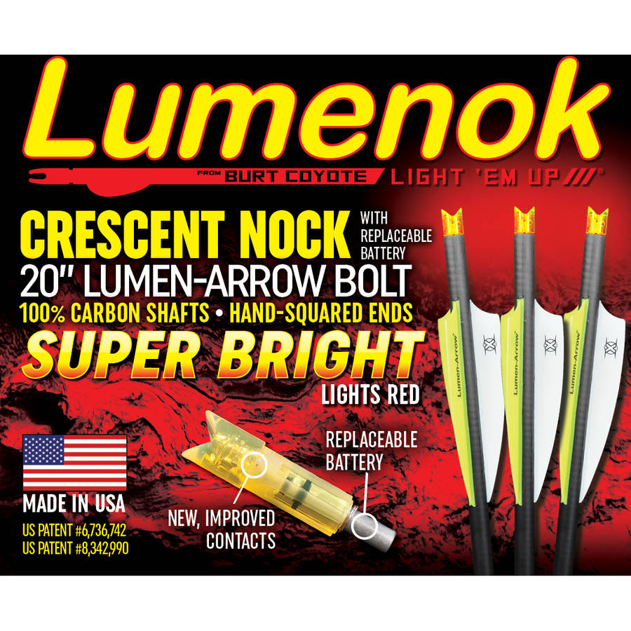 "LumenArrow Lumenok 20"" Carbon Bolts with Crescent Nock, 3-Pack"