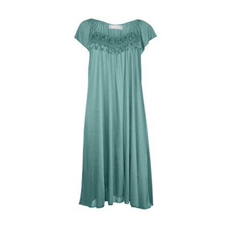 (Women's Satin Silk Ruffle Nightgown by)