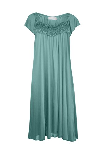 womenu0027s satin silk ruffle nightgown by ezi - Flannel Nightgowns