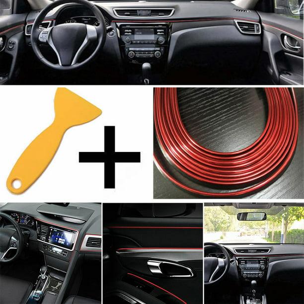 Red 5M Car DIY Interior Decor Door Sticker Moulding Styling Strip Trim Line Red