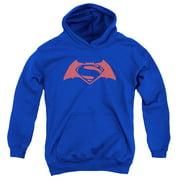 Batman Vs Superman Simple Logo Big Boys Pullover Hoodie Royal Blue MD