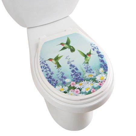Hummingbird Garden Decorative Applique Toilet Lid Tattoo Decal, - Tattoos Of Birds