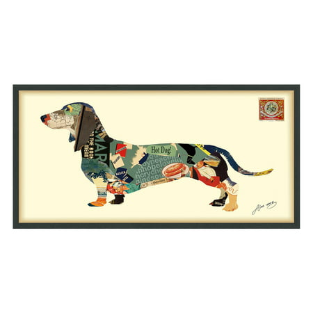 Empire Art Direct Dachshund Dimensional Collage Framed Graphic Art Under Glass Wall Art, 25