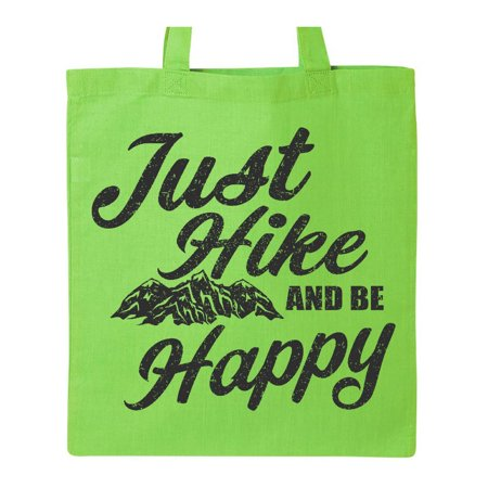 Just Hike and be Happy with Mountains Vector Tote Bag Lime Green One Size