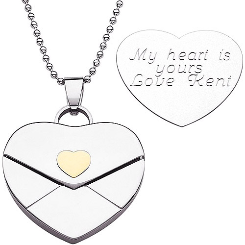 Personalized Stainless Steel Engraved Heart Envelope Pendant