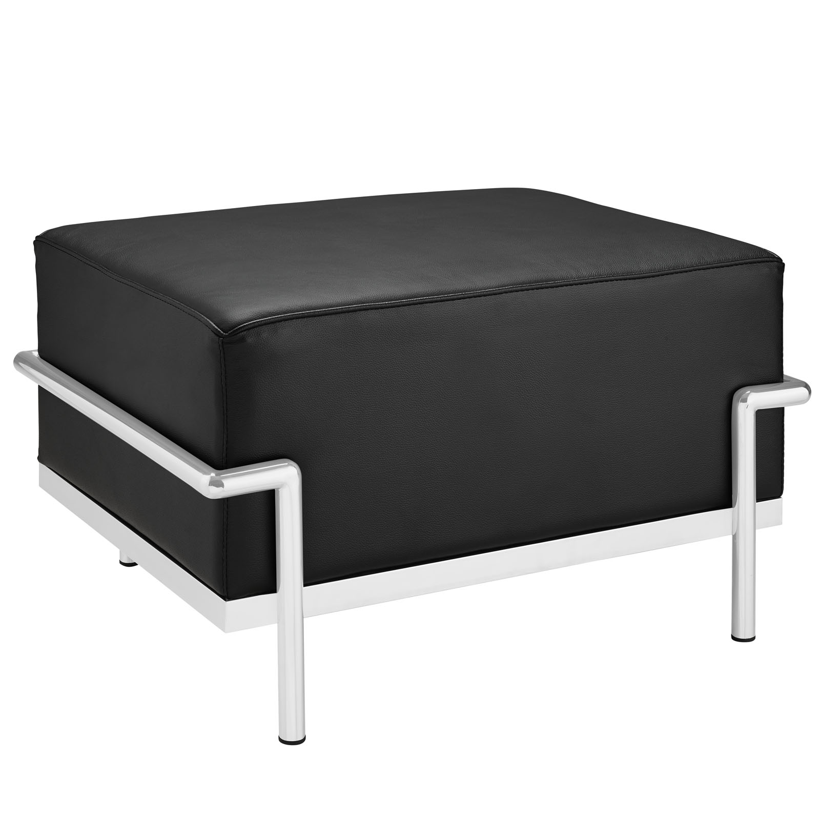 Modern Contemporary Living Room Leather Ottoman Black