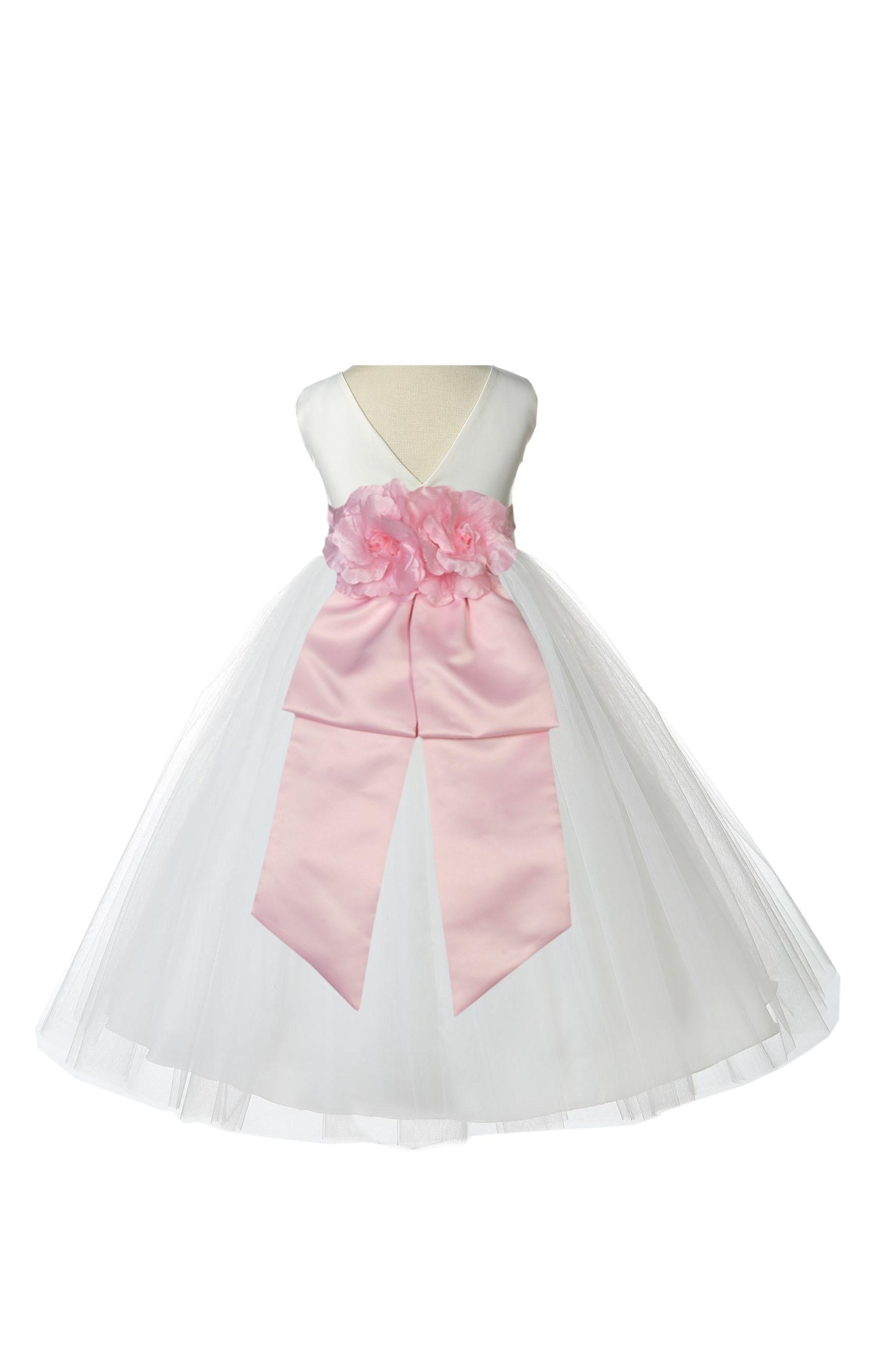 Ekidsbridal V-Shaped Back Neckline Ivory Flower Girl Dress Tulle Junior Bridesmaid Wedding Pageant Toddler Recital Easter Holiday Communion Baptism Formal Occasions 108a