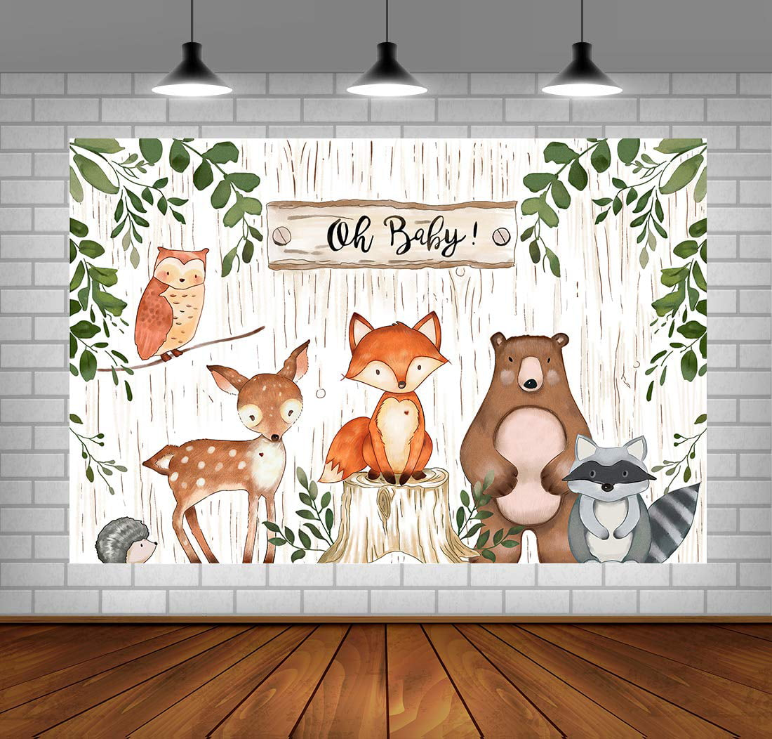 Woodland Backdrop For Baby Shower Jungle Animals Theme Baby Shower Background Woodland Baby Shower Decorations Vinyl Woodland Background For Birthday