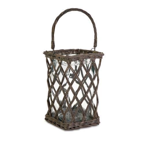 "13.75"" Lina Large Garden Style Rustic Willow Pillar Candle Lantern"